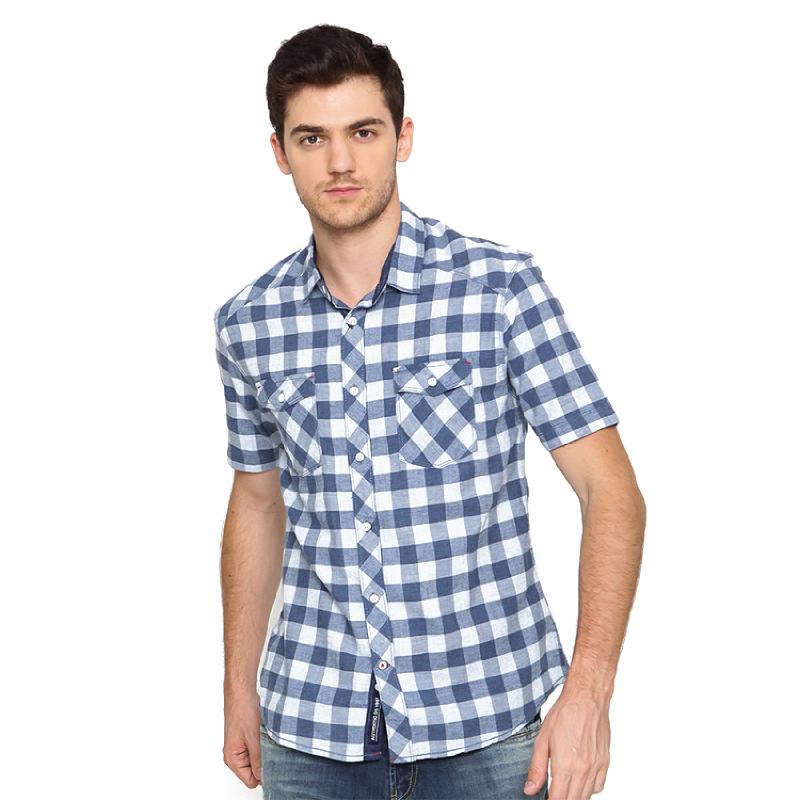 Osella Shirt Short Sleeve Y-D  Torino Misty Twill 06723Misty Check Blue