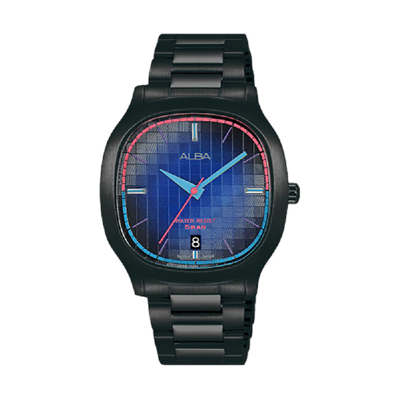 Alba Fusion AS9L87X1 Blue Gradation Pattern Dial Black Stainless Steel Strap