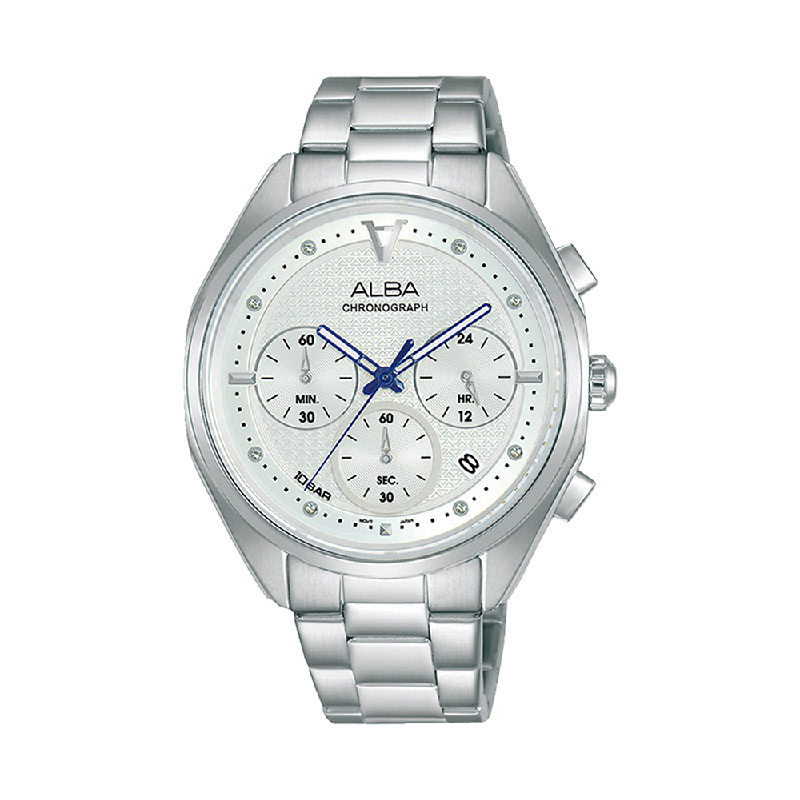 Alba AT3G93X1 Men Silver Patterned Dial Stainless Steel Strap