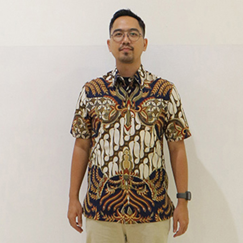 Batik Semar Pria Hem Pendek Pa Daun Manggar Bs 41 L Rf