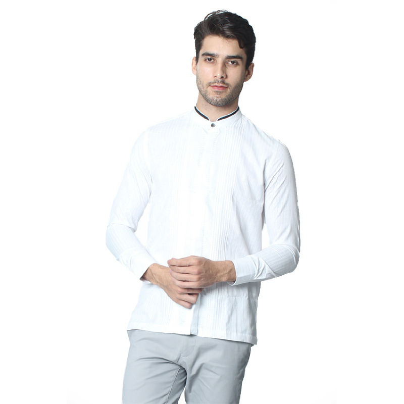 Manzone Koko Shirt Longsleeve Button Ink Rown White