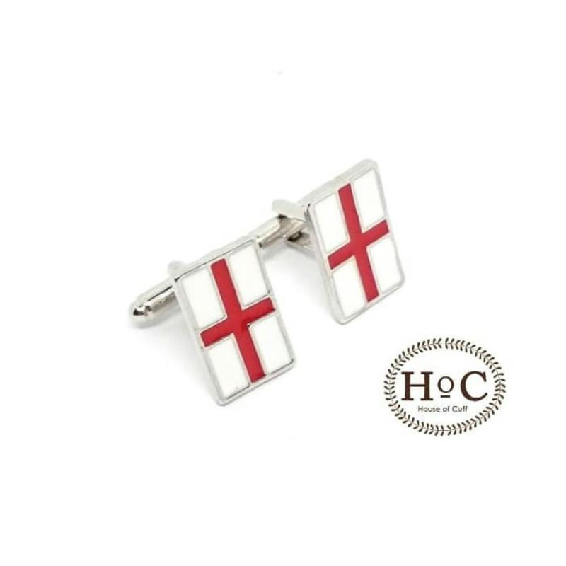House Of Cuff Cufflinks Kancing Manset White England Flag Cufflinks