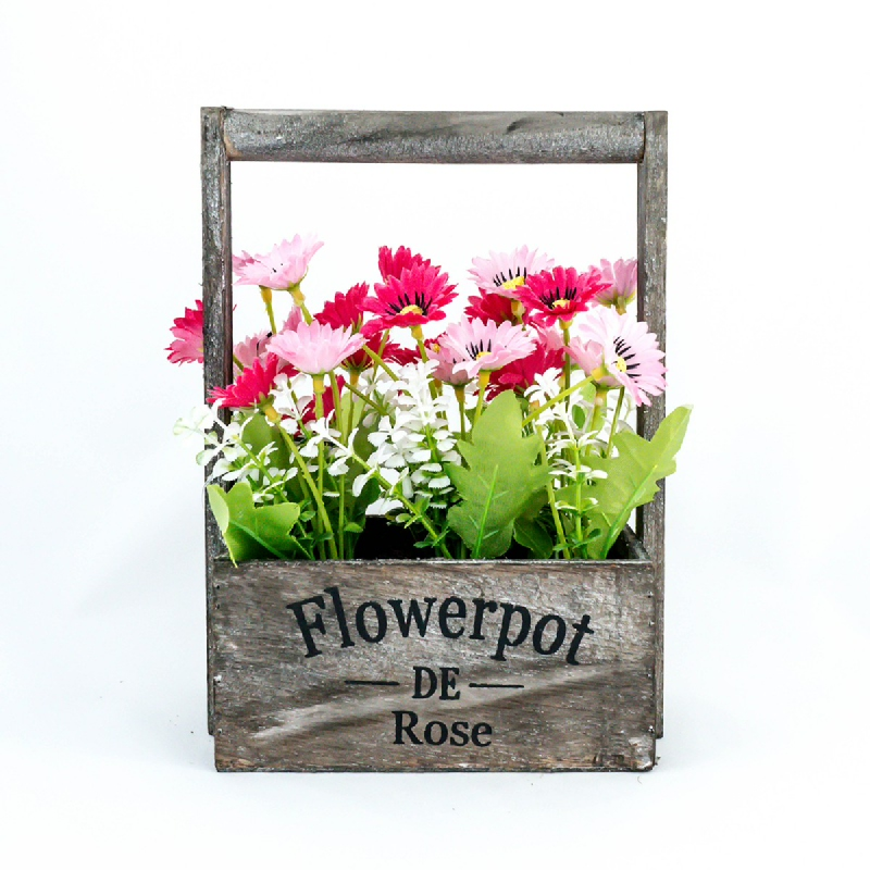 Asna Artificial Flowers with Wooden Pot