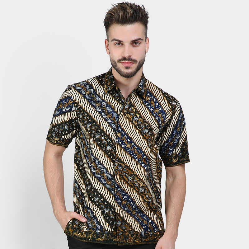 Batik Muda Hem Lasem Shirt Green