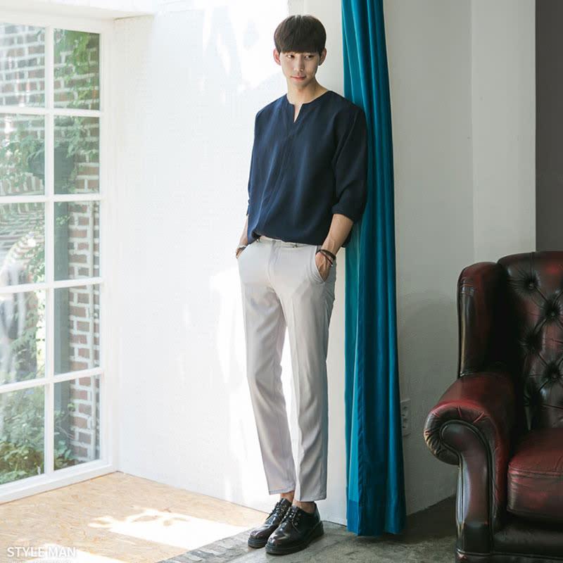 [BL1940]Silky Vent Shirt - Blue