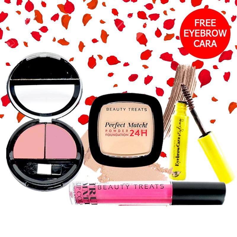 Beauty Treats Make Up Set A (Perfect Match Powder Foundation 24H No. 2 + True Matte Lip Color No. 1 + Duo Blush No. 3) FREE Eyebrowcara Dark Brown
