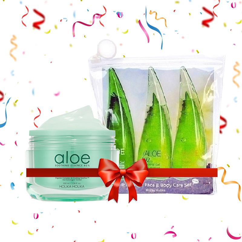 Holika Holika Aloe Soothing Essence 80% Moist Cream 100ml + Jeju Aloe Face & Body Care Set Mini