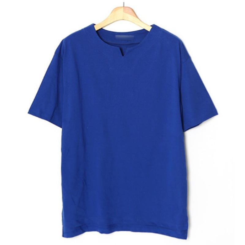 V-Cut Boat Neck Short Sleeve T-shirt BLU