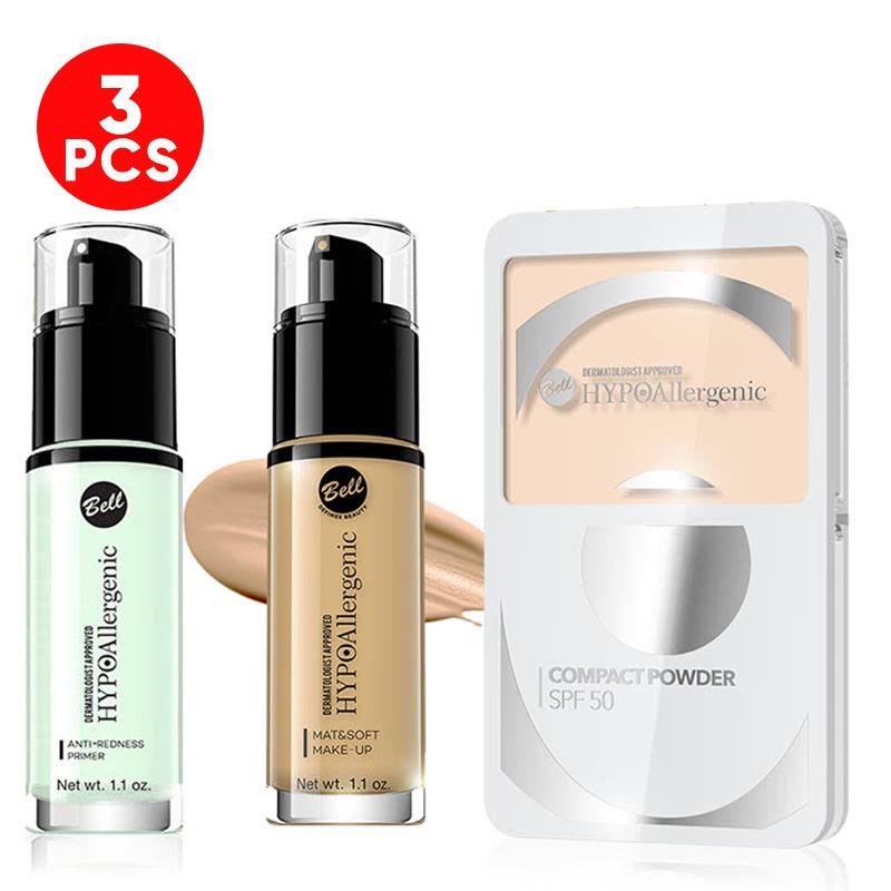 Bell Hypoallergenic Anti-Redness Primer + Bell Hypoallergenic Mat&Soft Make-Up 03 Sunny Beige + Bell Hypoallergenic Compact Powder SPF-50 04 Neutral Sand