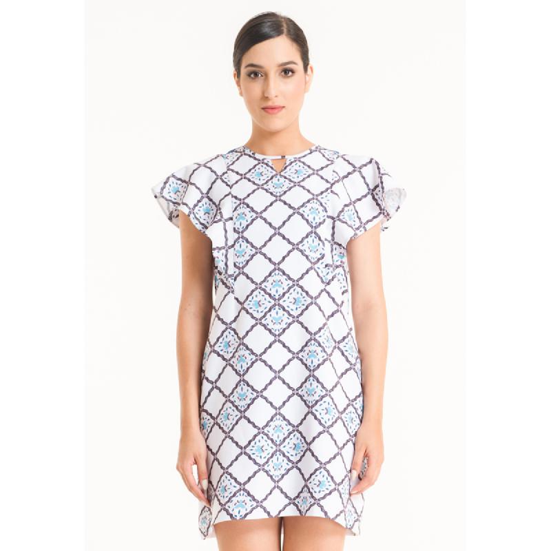 Bateeq Women Short Sleeve Cotton Print Drees FL005A-SS18 Cream