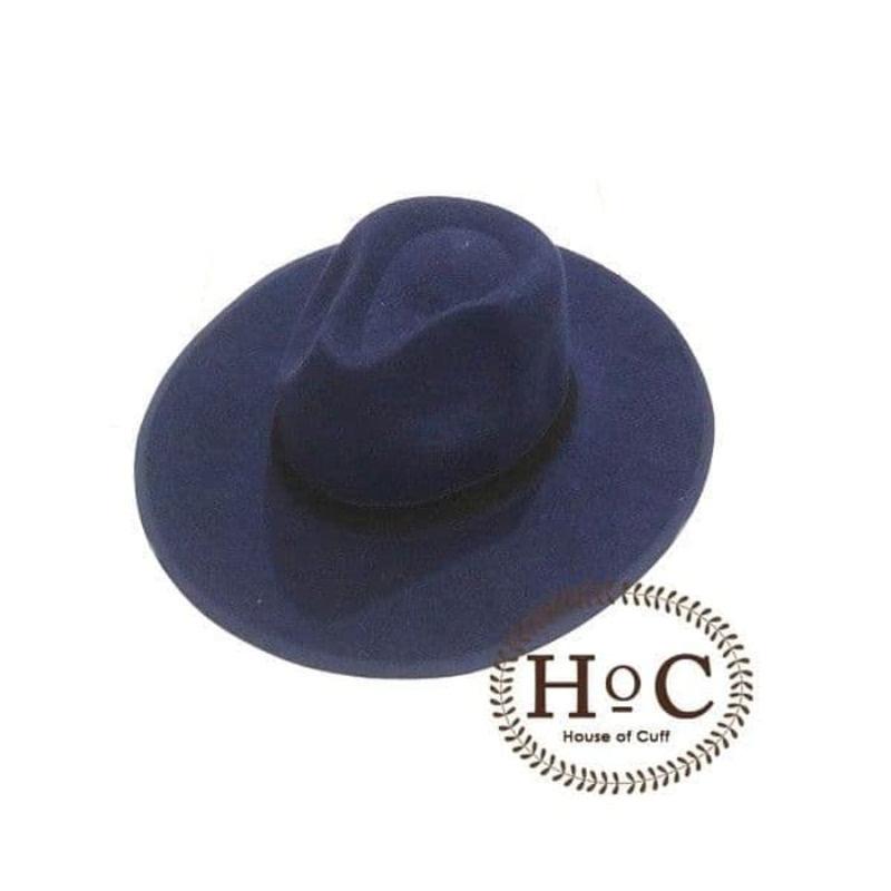 House Of Cuff Topi Fedora Panama Hat Jazz Koboy Hat Topi Pantai Wide Lebar Navy Blue