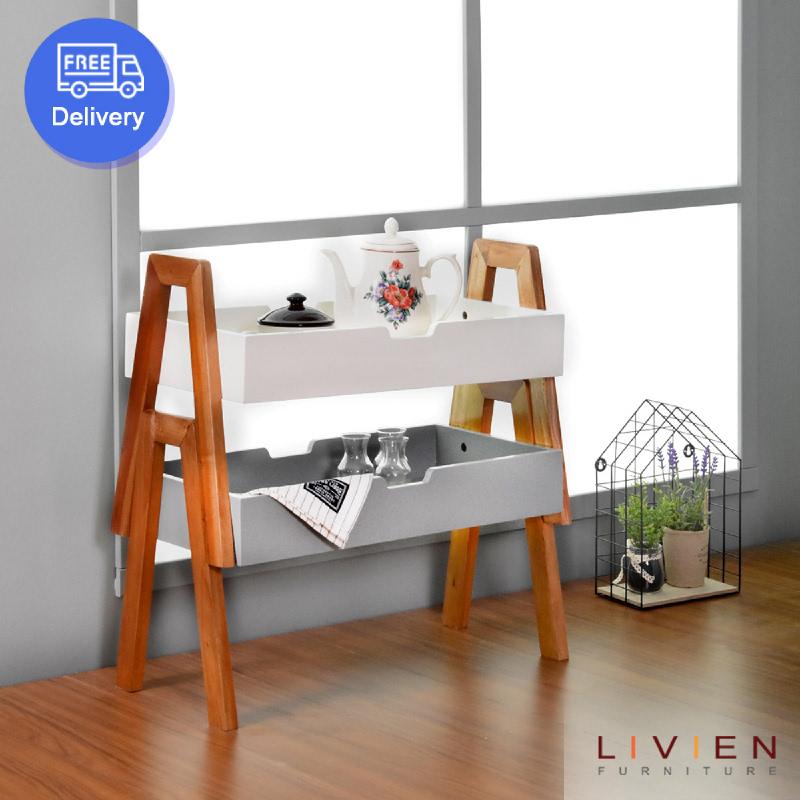 Livien Furniture Rak Suka 2 Grey