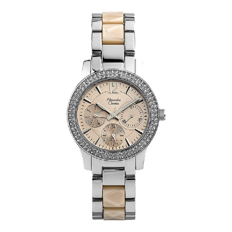 Alexandre Christie Passion AC 2463 BF BSSPE Ladies Beige Dial Dual Tone Stainless Steel with Acetate