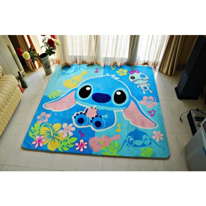 Karpet selimut karmut stitch empuk lembut 100 x 150 cm