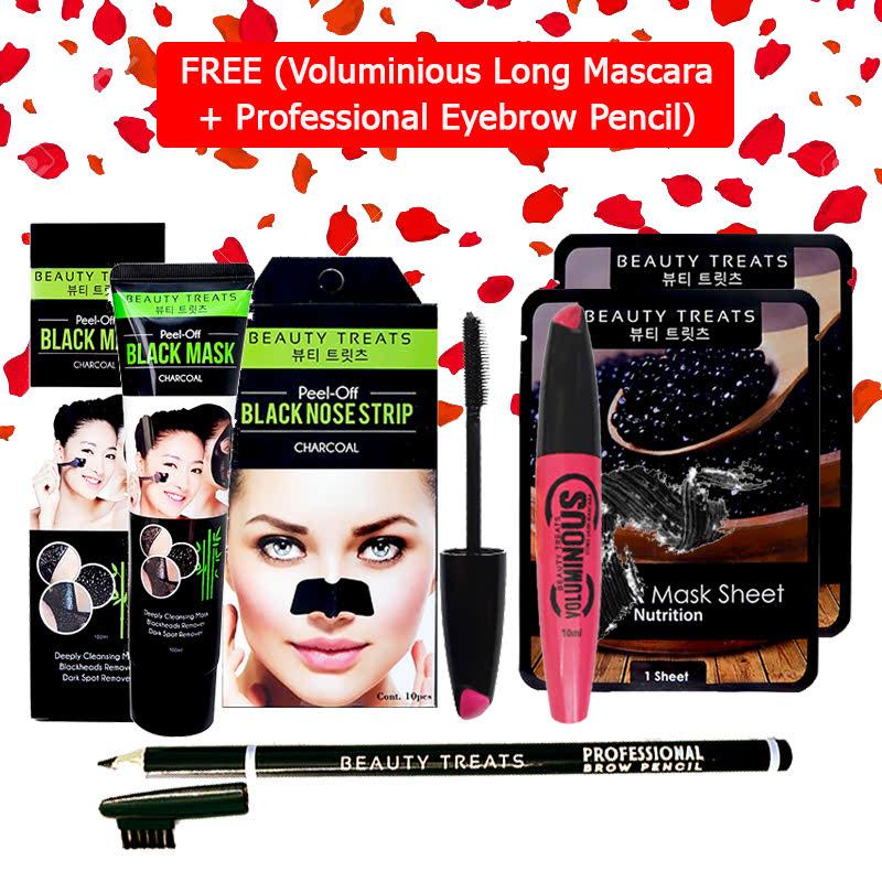 Beauty Treats Mask Set (Peel Off Black Mask Charcoal + Peel Off Black Nose Strip Charcoal + Mask Sheet Caviar 2pcs) FREE Voluminious Long Mascara + Professional Eyebrow Pencil Black