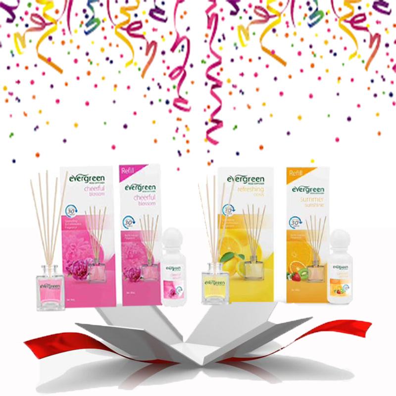 Evergreen Set Cheerful blossom & Refill Cheerful blossom 30 ml & Evergreen Set Refreshing citrus & Refill Summer Sunshine 30 ml