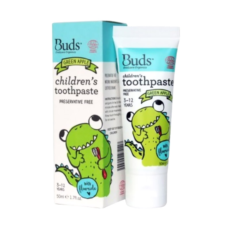 Buds for Kids Children's Toothpaste with Fluoride - Green Apple [3 - 12 Tahun]