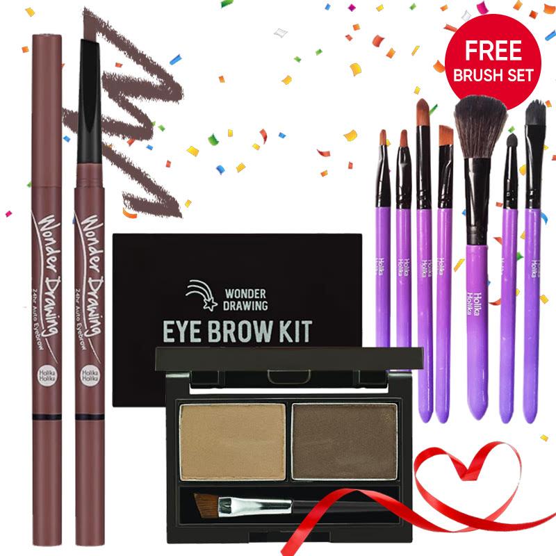 Holika Holika Wonder Drawing Eyebrow Kit 02 Ash Brown + 24hr Auto Eyebrow 04 Red Brown FREE Brush Set Purple