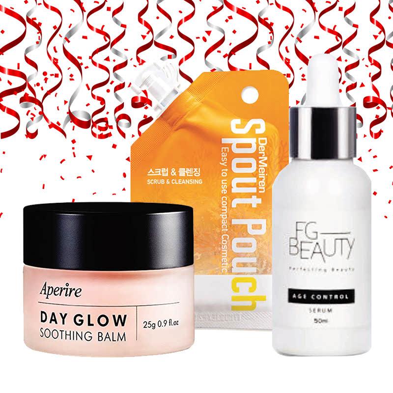 Aperire Day Glow Soothing Balm  25 G + Dermeiren Scrub Powder And Deep Cleansing Foam 15 G + FG Beauty Age Control Serum 50 Ml