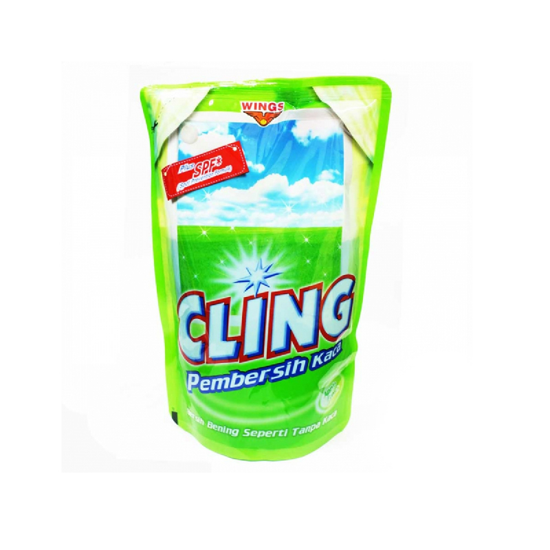 Cling Glass Cleaner Hijau Pouch 425Ml