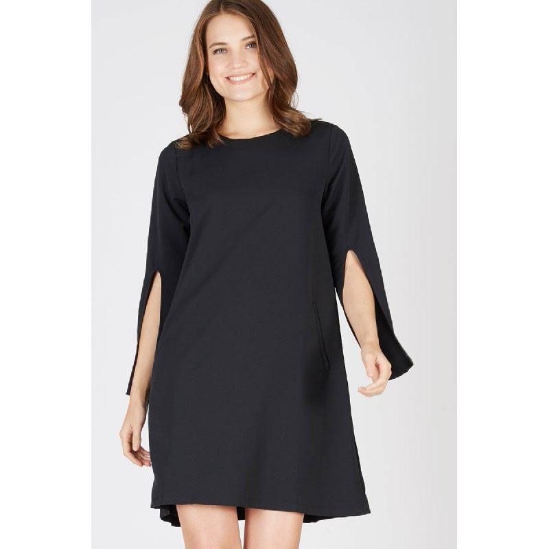Pomme Slit Sleeve Dress Black