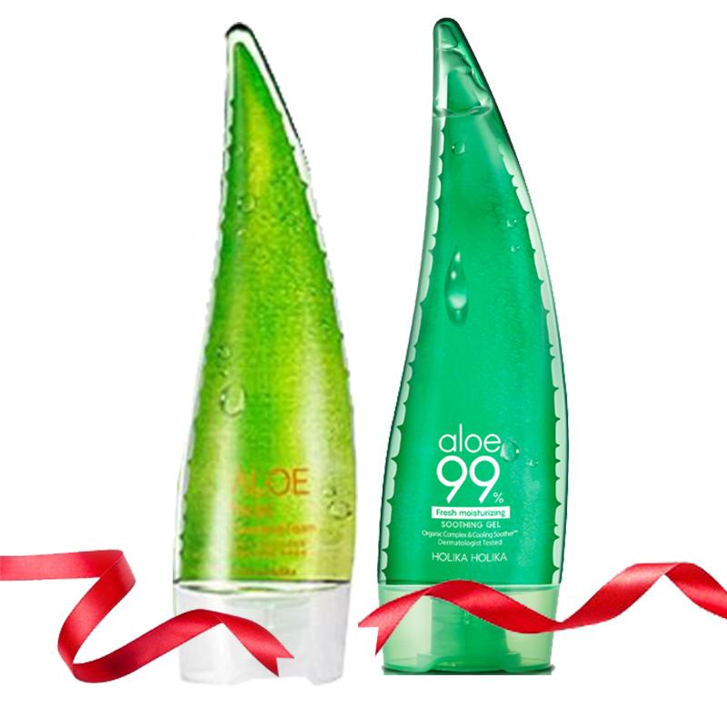 Holika Holika Aloe Facial Cleansing Foam + Aloe 99% Soothing Gel 250ml