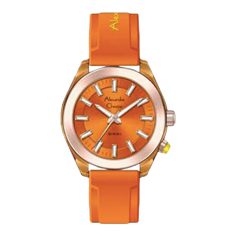 Alexandre Christie AuroraAC 2928 LHRRGOR Ladies Orange Dial Orange Rubber Strap