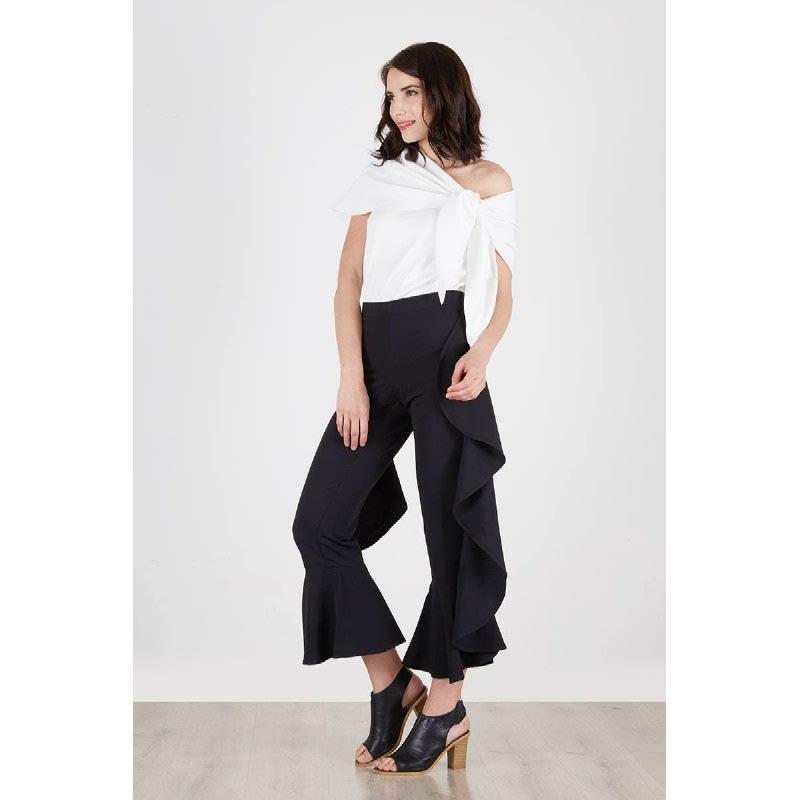 Odette Frill Pants Black
