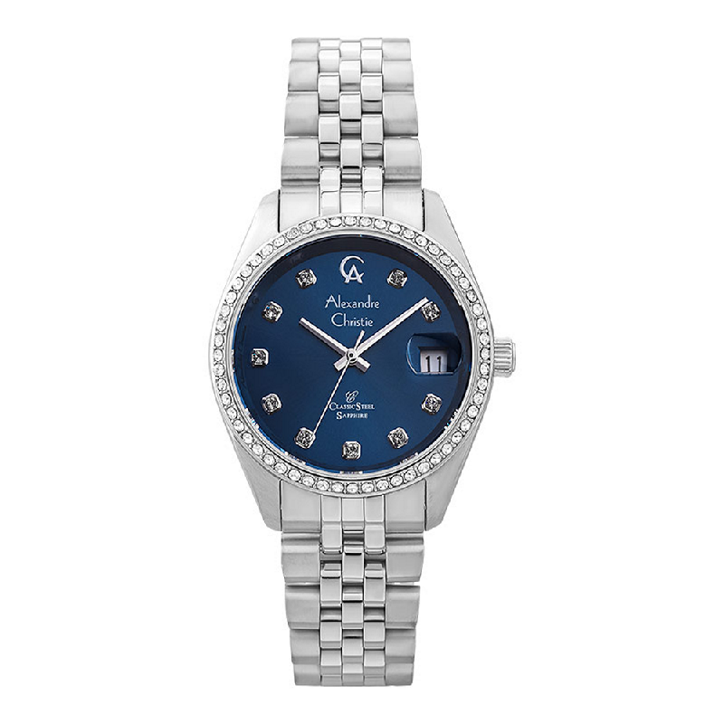 Alexandre Christie Classic Steel AC 5012 LD BSSBU Ladies Blue Dial Stainless Steel Strap