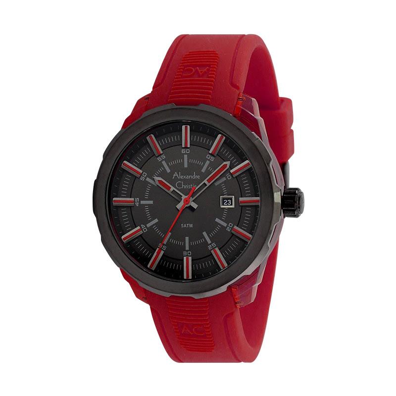 Alexandre Christie AC 6553 MDRIPRERE Jam Tangan Pria Rubber Strap Red