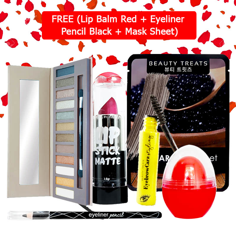 Beauty Treats Make Up Set B (Naked Eyeshadow No. 1 + Lipstick No. 3 + Eyebrowcara Dark Grey Brown) FREE Kiss Me Lip Balm Red + Eyeliner Pencil Black + Mask Sheet Caviar