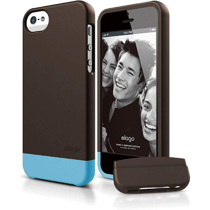 Elago Glide Case for iPhone SE, 5, 5S - SF Chocolate+SF Antique Blue