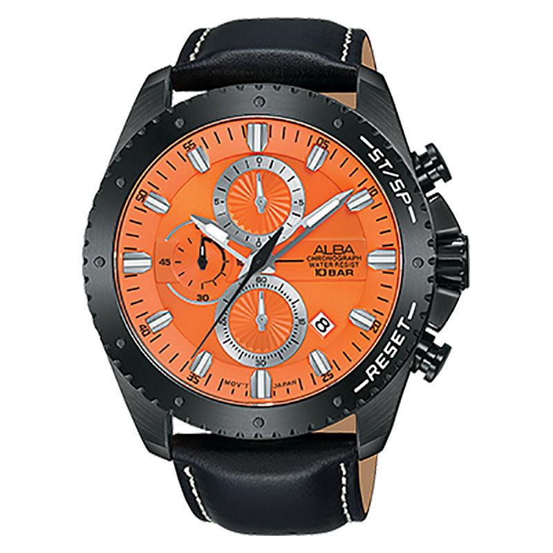 Alba AM3643X1 Man Orange Dial Black Leather Strap