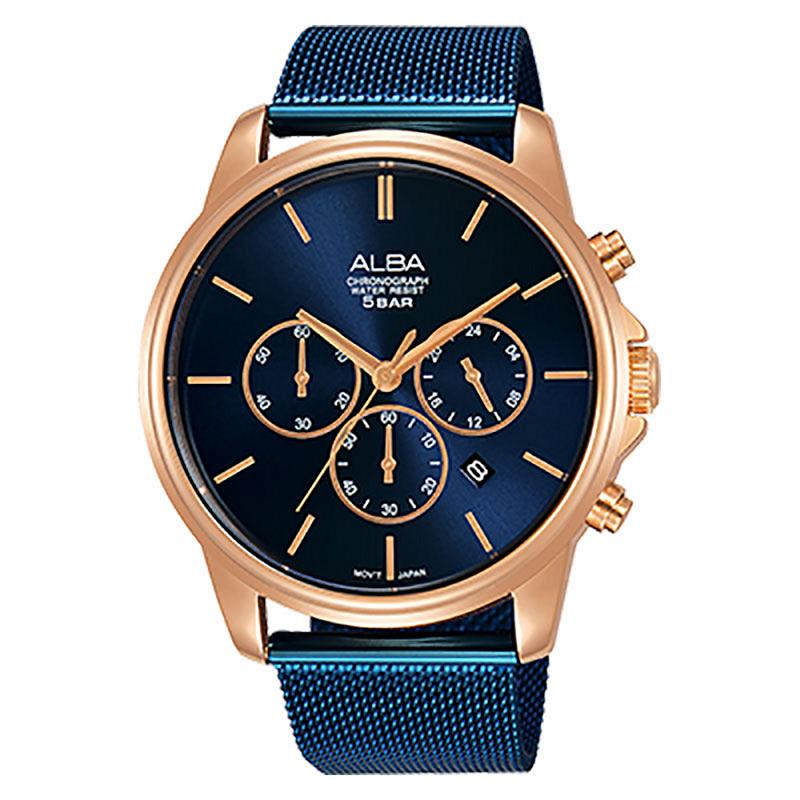 Alba AT3E40X1 Men Blue Dial Blue Stainless Steel