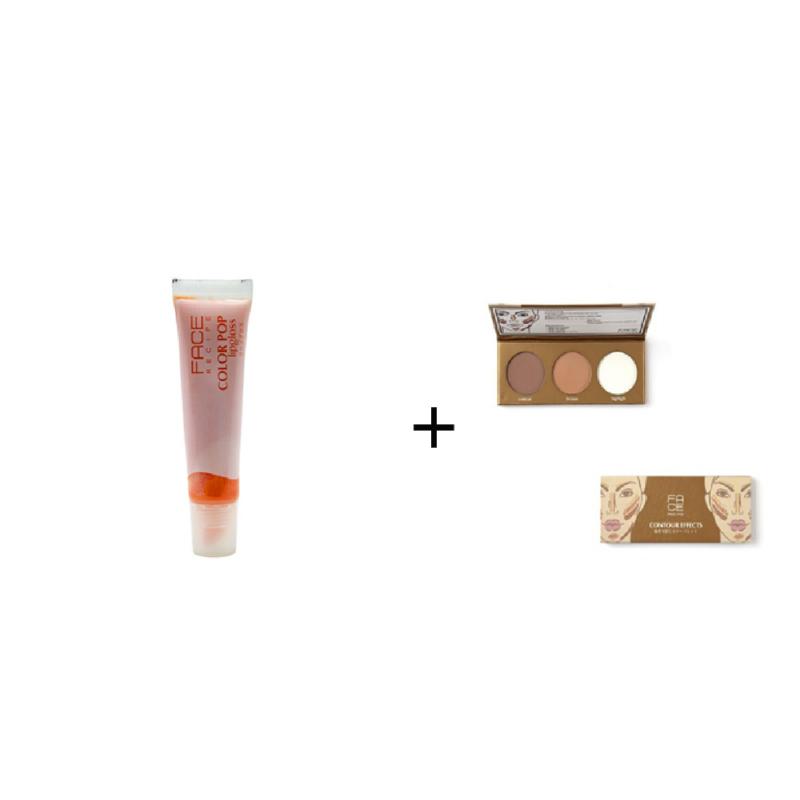 Face Recipe Color Pop Lipgloss Orange Pop + Face Recipe Contour Effects
