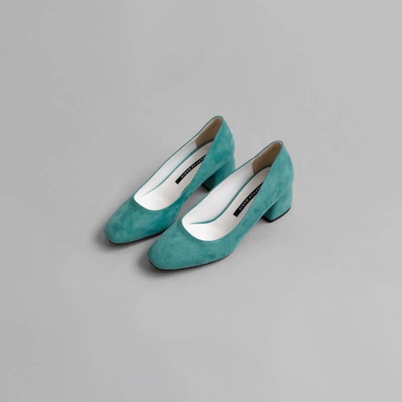 SAPPUN Love Suede Thumb Middle Heel (5cm) - Blue Green
