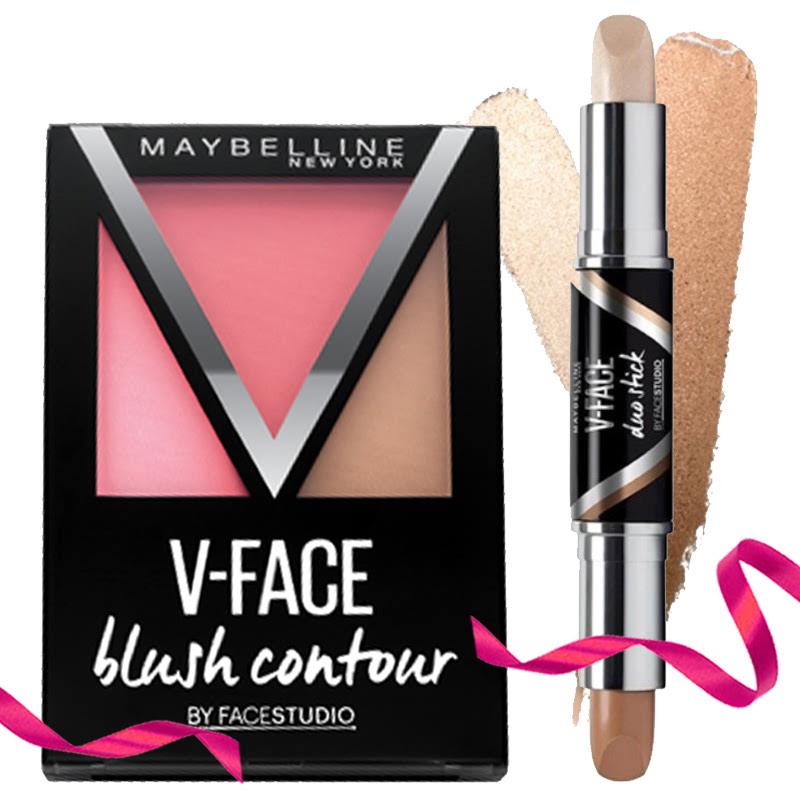Maybelline Blush On V Face Blush Contour - Red + Maybelline Contour & Highlight V Face Duo Stick - Medium