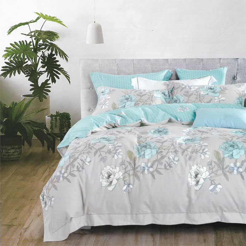 Sleep Buddy Set Sprei dan bed cover Modern Flower Cotton Sateen 200x200x30