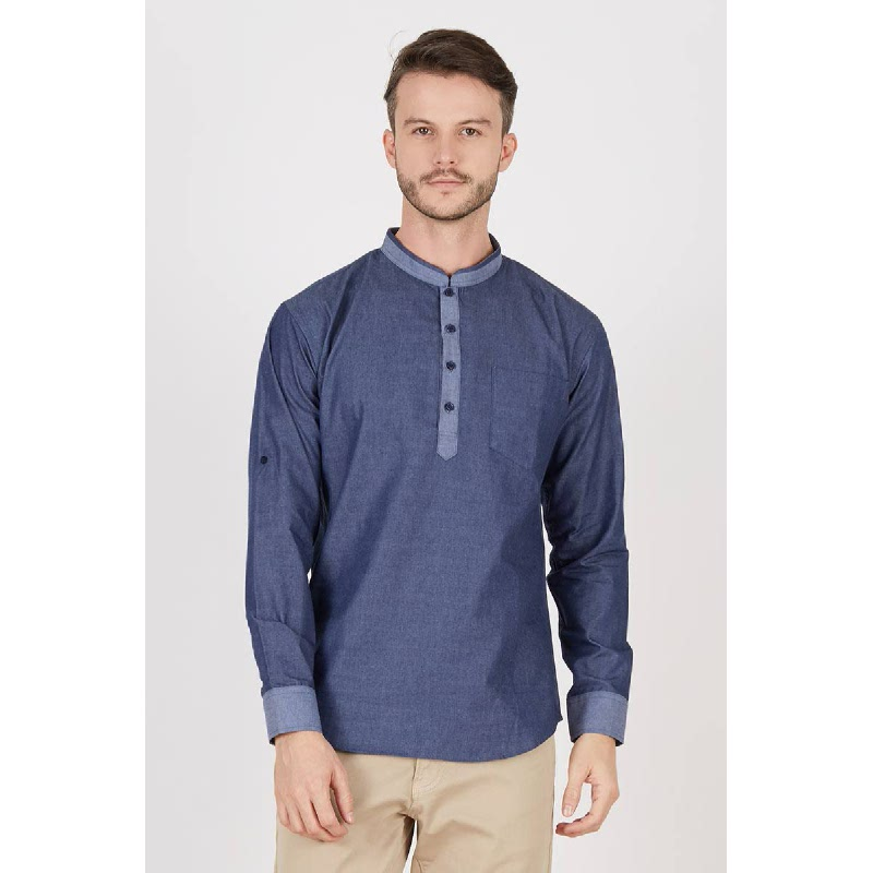 Men Ishak Blue Long Sleeves Shirt