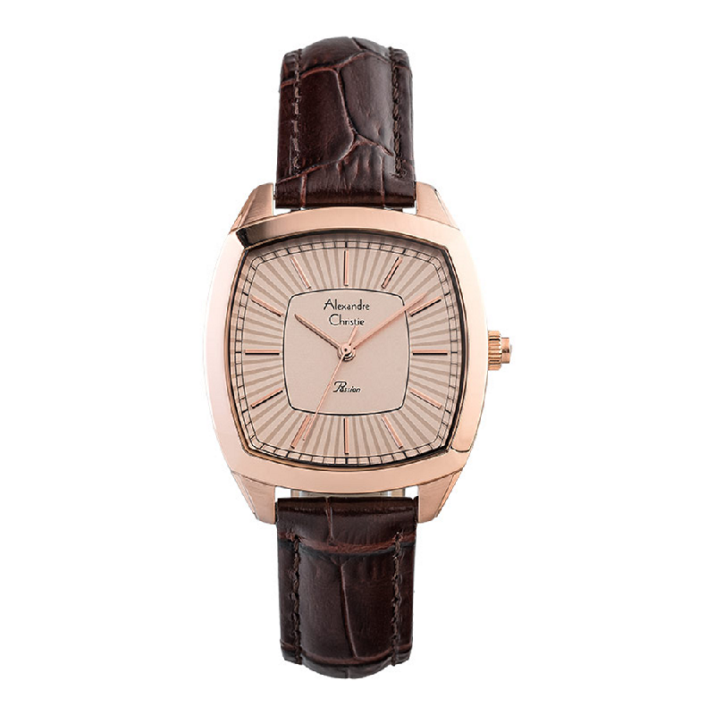 Alexandre Christie Passion AC 2884 LH LRGLN Ladies Rose Gold Dial Brown Leather Strap