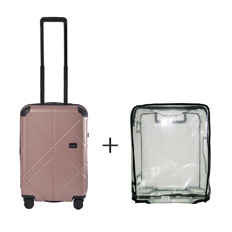 Bagasi Jasper Koper Hardcase Cabin 21 Inch Pink + Luggage Cover Small