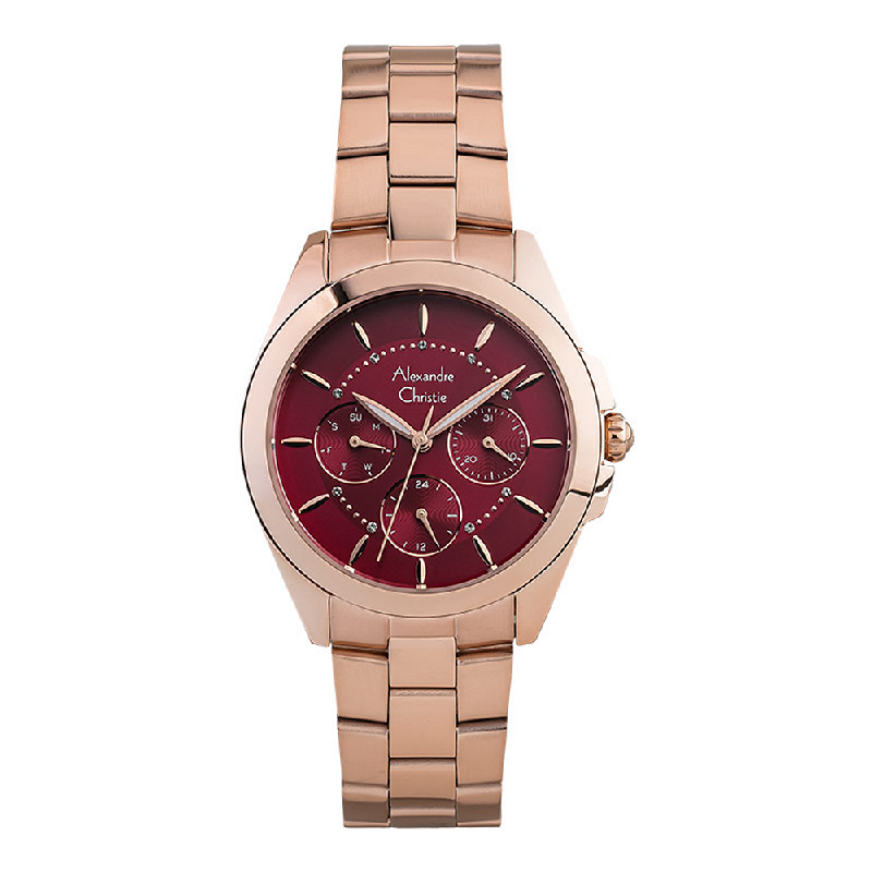 Alexandre Christie AC 2864 BF BRGRE Ladies Red Dial Rose Gold Tone Stainless Steel Strap