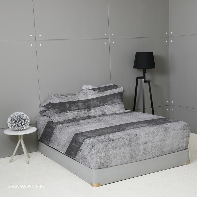 King Rabbit Set Seprei Sarung Bantal Single Size 100x200x40 cm Motif Jeanswest - Abu