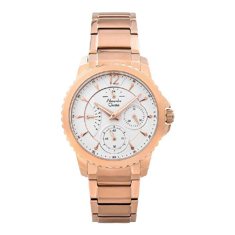 Alexandre Christie AC 2804 BF BRGSL Silver Dial Rose Gold Stainless Steel Strap