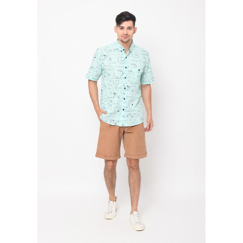 17seven Men Shirt Shortsleeve Print Patl Green