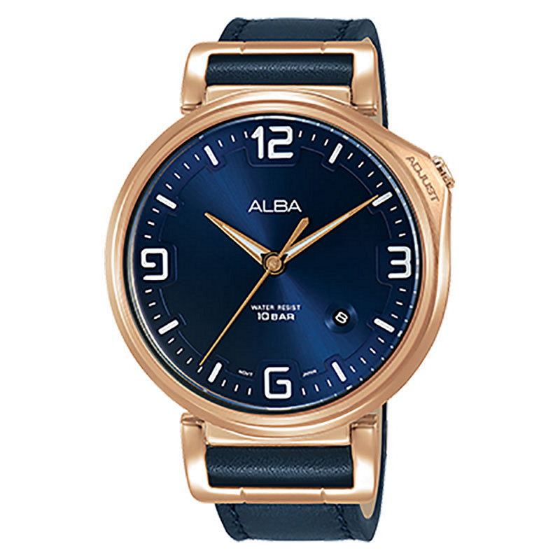Alba AS9F92X1 Men Blue Dial Blue Leather Strap