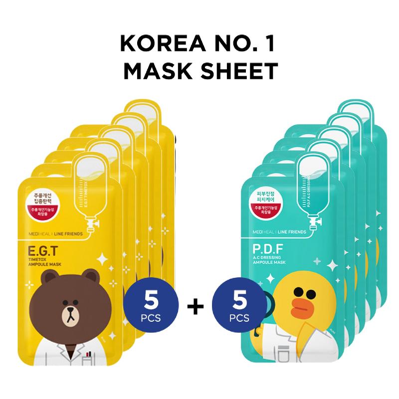 Mediheal Line Friends E.G.T. Timetox Ampoule Mask + Line Friends P.D.F.A.C Dressing Ampoule Mask