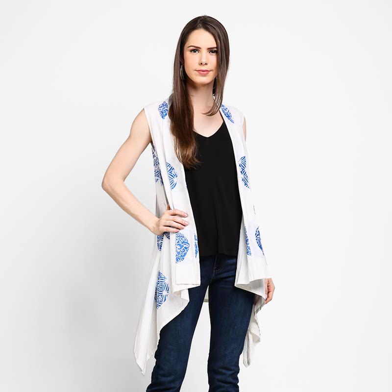 Astari Batik Outer White Blue