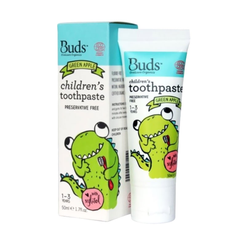 Buds for Kids Children's Toothpaste with Natural Xylitol - Green Apple [1 - 3 Tahun]