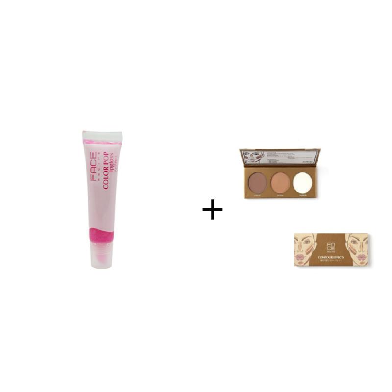 Face Recipe Color Pop Lipgloss Pink Pop + Face Recipe Contour Effects